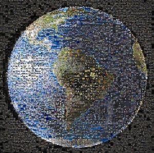 nasa把收到的1400多张照片拼成一幅马赛克地球图案.图片