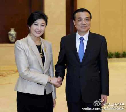 李克强会见泰国总理英拉