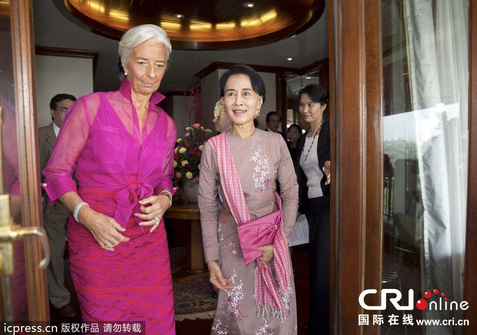 缅甸仰光 国际货币基金组织总裁拉加德与