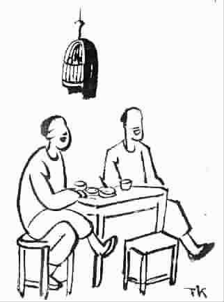 两个人吃饭的简笔画-喝茶,有鸟笼