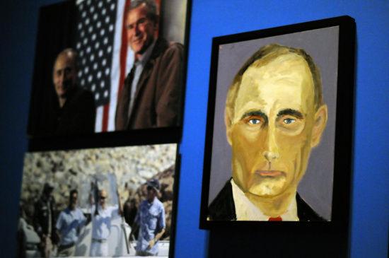 图为美国前总统小布什创作的俄罗斯总统普京肖像。