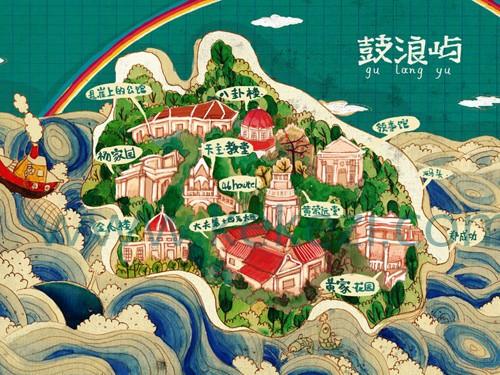 颇具趣味的鼓浪屿手绘地图
