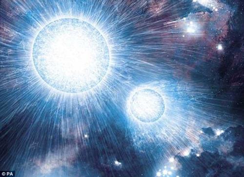 艺术概念图,展示了由两颗大质量恒星构成的双星系统lh54-425.