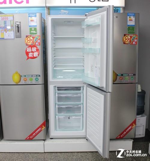 海尔BCD-215KJZF冰箱打开全貌