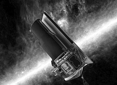 ?正在轨道上工作的斯皮策望远镜艺术示意图
