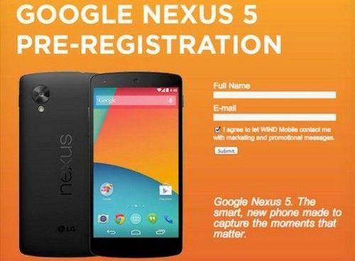 加拿大Nexus 5预订页面截图