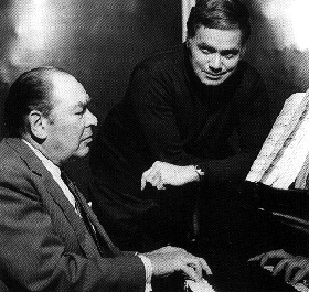 与英国著名钢琴家杰拉尔德摩尔为dg录制舒伯特艺术歌曲.图片