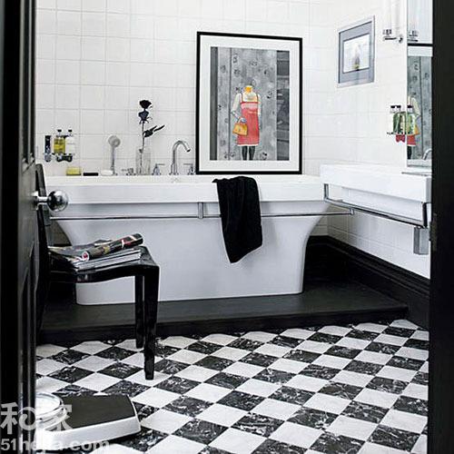 黑白地板磚效果圖