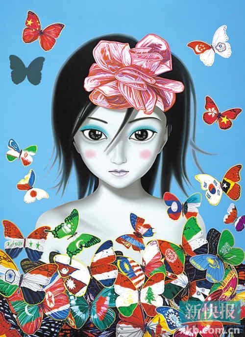亚州爱性_《亚洲之爱--蝴蝶飘飘》(布上油画)